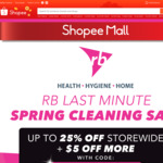 Up to 25% off Storewide + Extra $5 off ($50 Minimum Spend) with Promo Code + Freebies with Bundle Purchase at RB via Shopee