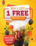 1 for 1 Brown Sugar Milk Tea with Pearls for $3.90 at Gong Cha (Mapletree Business City)