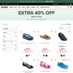 Extra 40% off Selected Styles at Crocs