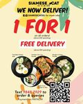 1 for 1 on All Orders ($30 Min Spend) Plus Free Delivery ($50 Min Spend) at Siamese Cat