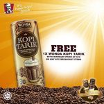 Free Can of Wonda Kopi Tarik with $10 Minimum Spend on Breakfast Items at KFC