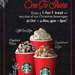 1-for-1 Christmas Drinks at Starbucks (Mon 31/10 - Fri 4/11 at 3pm - 8pm)