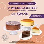 """7"""" Whole Cake - Chichago Cheesecake or Chocolate of a Thousand Leaves (1kg) for $29.90 [U.P. $39] at The Coffee Bean & Tea Leaf"""