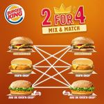 Burger King Mix & Match - 2 for $4 (Cheeseburger, Fish 'N Crisp and BBQ Chick'N Crisp)