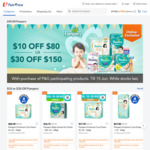 $10 off ($80 Min Spend) or $30 off ($150 Min Spend) on Participating Pampers Products at FairPrice On