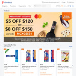 $5 off ($120 Min Spend) or $8 off ($150 Min Spend) at FairPrice On [Mastercard]