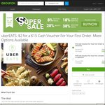 $15 off First Order or $6 off First 3x Orders at UberEATS for $2 via Groupon
