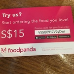 $15 off from Food Panda (First Time Customers) with Minimum $30 Spend