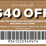 $40 off ($100 Min Spend) Storewide at Spotlight [In-Store, VIP Card Members]
