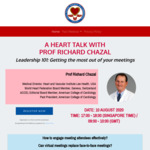 A HEART TALK WITH PROF RICHARD CHAZAL Leadership 101: Getting the most out of your meetings @ 10/8/2020 (5pm)