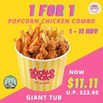 Shake Shake in A Tub: 1-for-1 Giant Tub Popcorn Chicken Combo (U.P. $23.60) [Telegram Required]