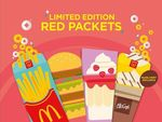 "Free Set of 6 Limited Edition ""Red"" Packets with Every Golden Prosperity Extra Value Meal Purchase at McDonald's"
