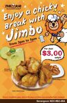 Chicky Break with Jimbo Combo (Onion Rings, 100g Chicken & Lemon Juice) for $3 at Fried Chicken Master [3pm to 5pm]