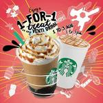 Starbucks 1 for 1 Venti-Sized Handcrafted Beverages, All Outlets 1-3 Aug 3-5pm