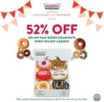 52% off on Any Half Dozen Doughnuts Purchase with Any Dozen Purchase at Krispy Kreme (VivoCity)