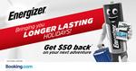 AU $50 (SG $47.60) Cashback for Any Minimum Reservation of AU $200 (SG $190.40) at Booking.com via Energizer