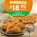 5 + 5 Chicken at $18.90 (U.p. $37.50) at Popeyes Exclusively on Grabfood