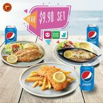 $9.90 for Fried/Grilled/ Baked Dory & Can of Pepsi Set at Manhattan Fish Market via GrabFood, foodpanda & Deliveroo