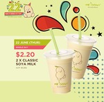 Get 2 x Classic Soya Milk at Mr Bean for $2.20 Today Only (U.P. $3.20)