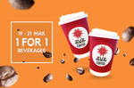 1 for 1 Drinks at Jewel Coffee from 19-21 March 3pm till Closing