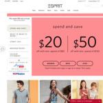 $20 off ($80 Min Spend) or $50 off ($150 Min Spend) at Esprit [Esprit Friends Members]