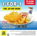 1-for-1 Fish, Chicken & 3pc Shrimps ($8.40) at Long John Silver's