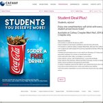 Free 22oz Soft Drink with Every Movie Ticket Purchased at Cathay Cineplexes (Students Only)