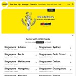 20% off Flights to 22 Selected Destinations from Scoot (UOB Cards)