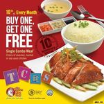 1 for 1 Single Combo Meals at The Chicken Rice Shop (Causeway Point)