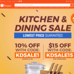 10% off (No Minimum Spend) or $15 off ($120 Minimum Spend) on Kitchen & Dining at Shopee