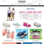 Free Shipping on All Orders + Buy 2, Get 30% off at Crocs