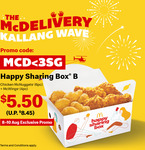 Happy Sharing Box B: 6pc McNuggets + 4pc McWings for $5.50 (U.P. $8.45) with $10 Min Spend at McDonald's McDelivery