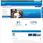 $5 off and 15% Rebate with Minimum $30 Recharge to Starbucks Card with Citibank