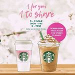 1 for 1 Venti-Sized Drinks/Beverages at Starbucks (Monday 5th to Friday 9th March, 3pm to 7pm)