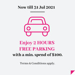 Free 2 Hours Parking (Worth $7.90) with Min. Spend of $100 in Max. of 3 Same-Day Receipts @ Paragon