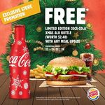 Free Limited Edition Coca-Cola Xmas Alu Bottle (Worth $2.40) with Any Meal Upsize at Burger King (Viva Outlet)