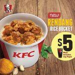 Rendang Rice Bucket with Regular Pepsi for $5 at KFC