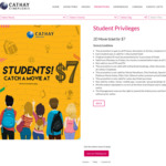 2D Movie Tickets for $7 at Cathay Cineplexes (Students)