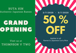 50% off All Ramen & Curry Rice (from $2.80) at Buta Kin [Facebook Required, Thompson V Two Branch]