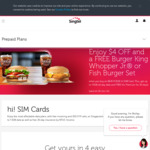 Pay $4 for a $8 hi! SIM Card, Burger King Whopper Jr/Fish Burger Set & Viu Premium 30 Day Subscription at Singtel