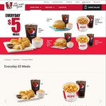 KFC Everyday $5 Meals - Original Recipe Rice Bucket, Curry Rice Bucket, 6pcs Nuggets, Shrooms Fillet Burger, Fish Ole