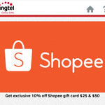10% off Shopee Gift Cards via Singtel Online Gifts [$25 Gift Card for $22.50, $50 Gift Card for $45]