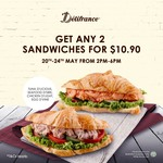 2 Sandwiches for $10.90 from 20th - 24th May from 2pm - 6pm at Delifrance