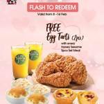 Free Egg Tarts (2pcs) with Every Honey Sesame 5pcs Set Meal Purchase at KFC