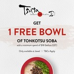 Free Bowl of Tonkotsu Soba with $18 Min Spend at Tsuta (Jewel)