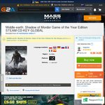 Middle-Earth: Shadow of Mordor - Digital Steam Code - AU $5.22 on G2A