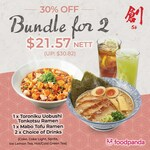 Toroniku Uobushi Tonkotsu Ramen, Mabo Tofu Ramen & 2x Drinks for $21.57 (U.P. $30.82) at Sō Ramen via foodpanda