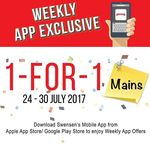 1 for 1 Mains at Swensen's via Mobile App (Monday 24th to Sunday 30th July)