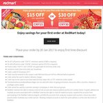 $15 off ($80 Minimum Spend) or $30 off ($150 Minimum Spend) for New Customers at RedMart