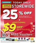 25% off Storewide at Watsons ($38 Minimum Spend)